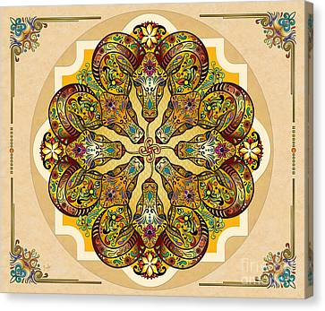 Greek Icon Canvas Print - Mandala Sacred Rams - Bright Version Sp by Peter Awax