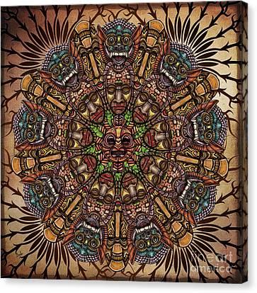 Mandala Tribal Masks Canvas Print by Bedros Awak