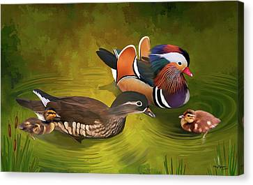 Mandarin Duck Family Canvas Print by Thanh Thuy Nguyen