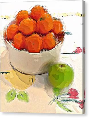 Canvas Print featuring the digital art Mandarin With Apple by Alexis Rotella
