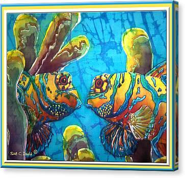 Mandarinfish- Bordered Canvas Print by Sue Duda