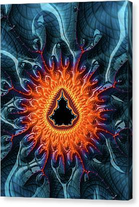 Canvas Print featuring the digital art Mandelbrot Fractal Orange And Dark Blue by Matthias Hauser