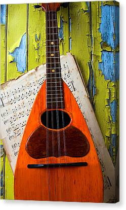 Mandolin And Old Sheet Music Canvas Print by Garry Gay
