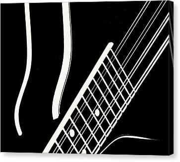 Canvas Print featuring the digital art Mandolin Close Bw by Jana Russon