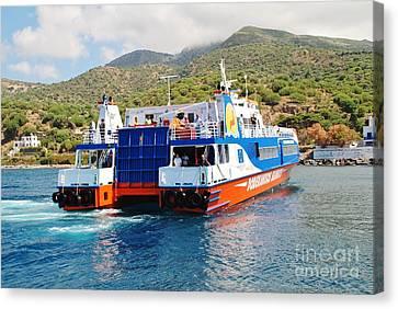 Mandraki Harbour In Nisyros Canvas Print by David Fowler