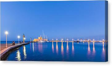 Mandraki Harbour Near Dawn Canvas Print by Werner Dieterich