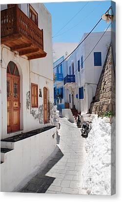 Mandraki Street On Nisyros Canvas Print by David Fowler
