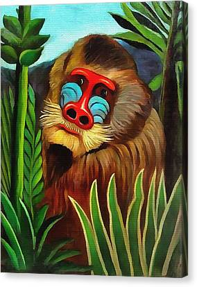 Mandrill In The Jungle Canvas Print by Henri Rousseau