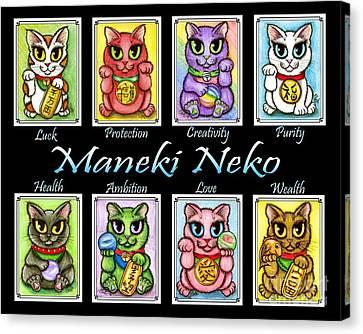 Maneki Neko Luck Cats Canvas Print by Carrie Hawks