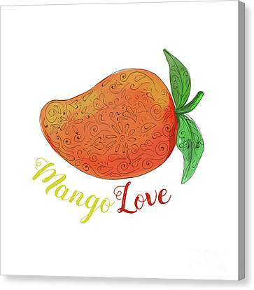 Mango Love Fruit Watercolor Mandala  Canvas Print