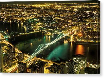 Manhattan And Brooklyn Bridges Canvas Print by Gerard Fritz