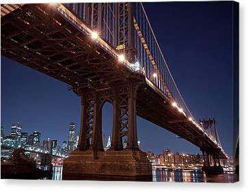 Manhattan And Brooklyn Bridges Canvas Print
