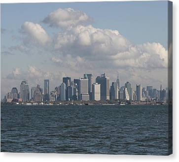 Manhattan And Governors Island Canvas Print by Christopher Kirby