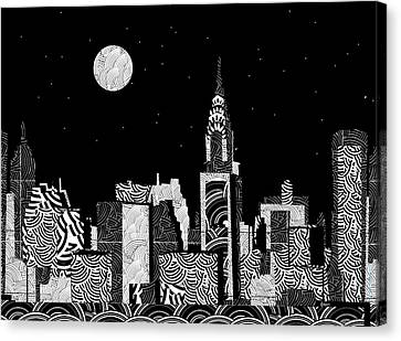 Wavy Canvas Print - Manhattan At Night New York Swings by Cecely Bloom