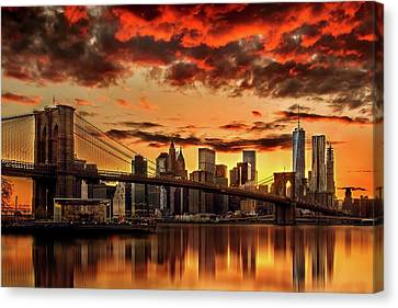 Times Square Canvas Print - Manhattan Bbq by Az Jackson