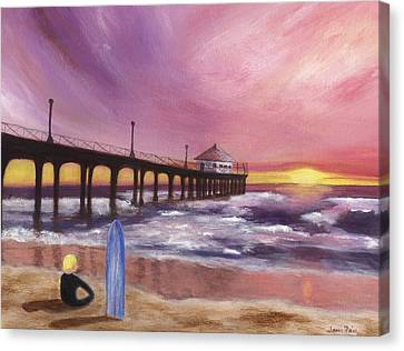 Canvas Print featuring the painting Manhattan Beach Pier by Jamie Frier