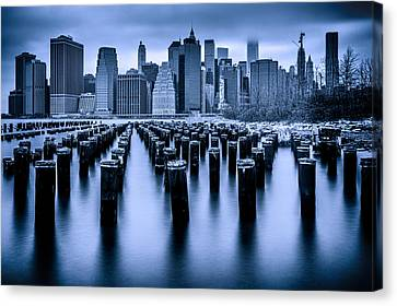 Canvas Print featuring the photograph Manhattan Blues by Chris Lord