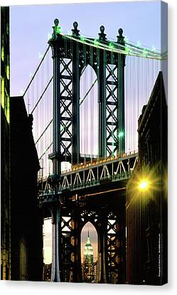 Manhattan Bridge And Empire State Building Canvas Print by Mark Ivins