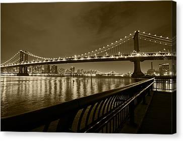 Manhattan Bridge And Williamsburg Bridge Sepia Canvas Print