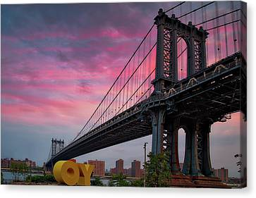 Canvas Print featuring the photograph Manhattan Bridge At Sunrise  by Emmanuel Panagiotakis