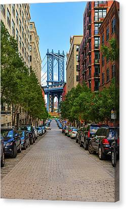 Canvas Print featuring the photograph Manhattan Bridge by Emmanuel Panagiotakis