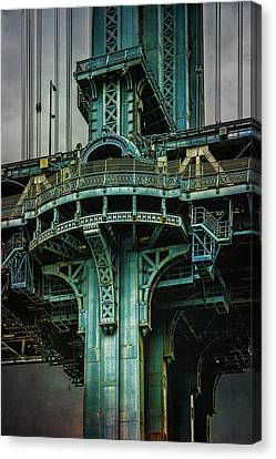 Canvas Print featuring the photograph Manhattan Bridge Tower by Chris Lord