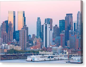 Manhattan Cruise Terminal And Skyline Canvas Print by Clarence Holmes