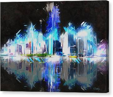 Manhattan Downtown Lights Canvas Print