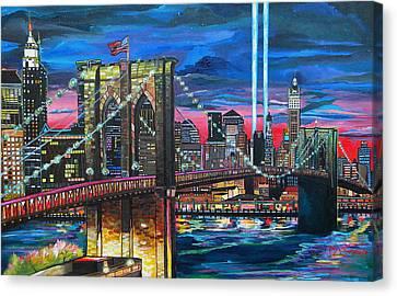Manhattan Kinda Night Canvas Print by Patti Schermerhorn