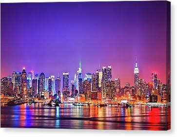 Manhattan Lights Canvas Print by Matthias Haker Photography