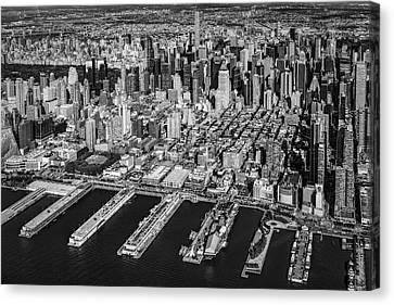 Manhattan New York City Aerial View Bw Canvas Print by Susan Candelario