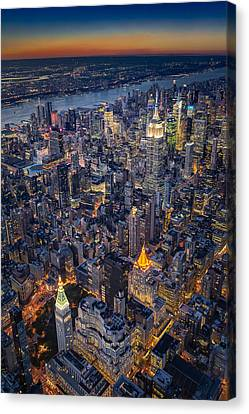 Manhattan New York City From Above Canvas Print by Susan Candelario