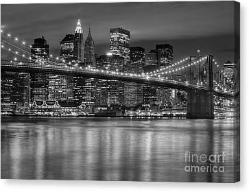 Manhattan Night Skyline Iv Canvas Print by Clarence Holmes