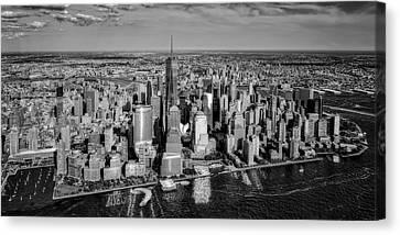 Staten Island Ferry Canvas Print - Manhattan Nyc Aerial View Bw by Susan Candelario