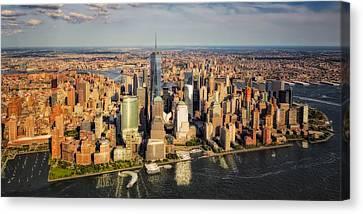 Staten Island Ferry Canvas Print - Manhattan Nyc Aerial View by Susan Candelario