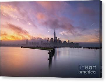 Manhattan On Fire  Canvas Print by Michael Ver Sprill