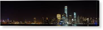 Manhattan Pano From The Hudson Canvas Print by Andres Leon