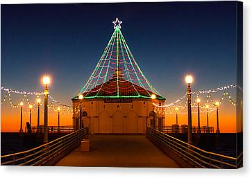 Canvas Print featuring the photograph Manhattan Pier Christmas Lights by Michael Hope