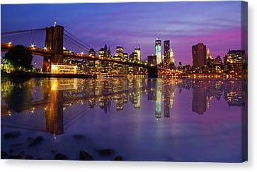 Canvas Print featuring the photograph Manhattan Reflection by Mircea Costina Photography