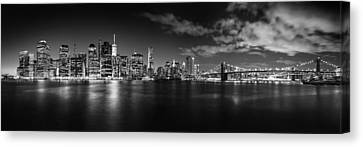 Manhattan Skyline At Night Canvas Print