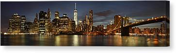 Canvas Print featuring the photograph Manhattan Skyline At Night - Panorama by Nathan Rupert