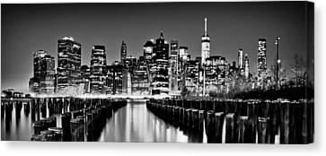 Manhattan Skyline Bw Canvas Print by Az Jackson