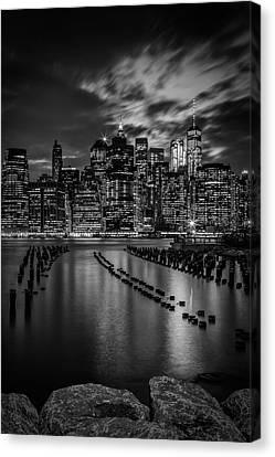 Manhattan Skyline Evening Atmosphere In New York City - Monochrome Canvas Print