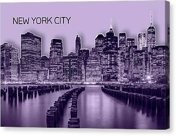 Times Square Canvas Print - Manhattan Skyline - Graphic Art - Purple by Melanie Viola