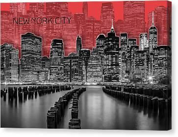 Times Square Canvas Print - Manhattan Skyline - Graphic Art - Red by Melanie Viola