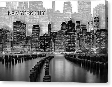 Times Square Canvas Print - Manhattan Skyline - Graphic Art - White by Melanie Viola