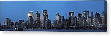Canvas Print featuring the photograph Manhattan Skyline by John Haldane