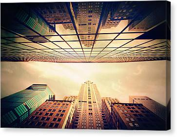 City Streets Canvas Print - Manhattan Skyline Reflections by Jessica Jenney