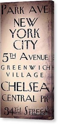 East Village Canvas Print - Manhattan Street Sign by Mindy Sommers