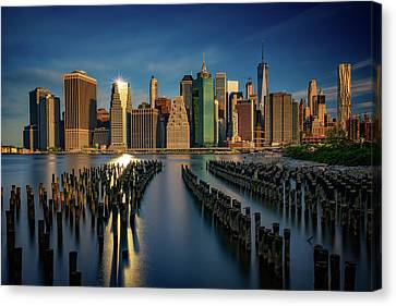 Manhattan Twinkle Canvas Print by Rick Berk